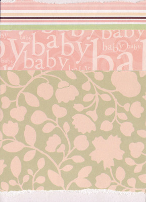 003 - 'Baby' with banded paper overlaid on pink floral paper