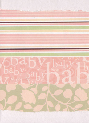 004 - 'Baby' with banded paper overlaid on pink floral paper