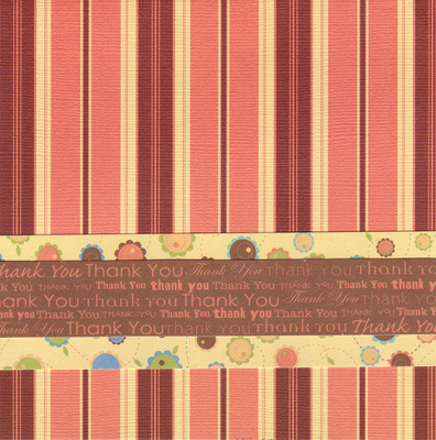 153 - 'Thank you' on a playful floral band on bold red striped paper