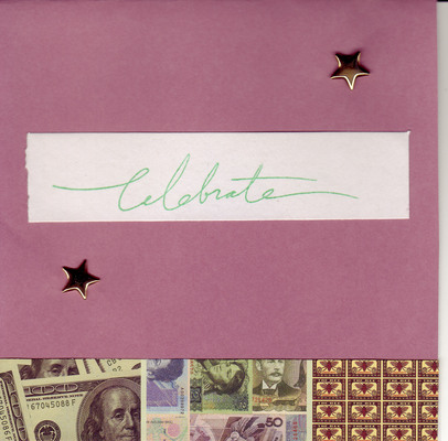 157 - 'Celebrate' with star embellishments and money border