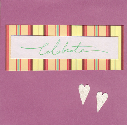 158 - 'Celebrate' with heart highlight on purple paper