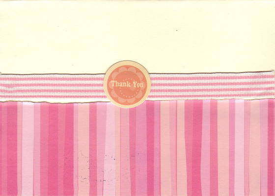 166 - 'Thank you' with pink striped paper and embellishments