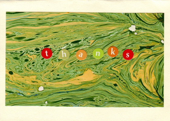 167 - 'thanks' on green marbled paper