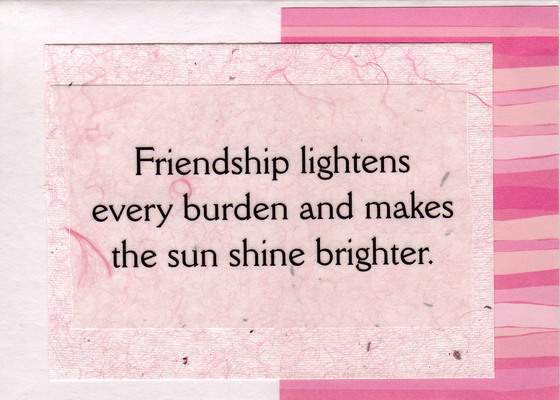 175 - 'Friendship lightens every burden...' on fuzzy pink paper