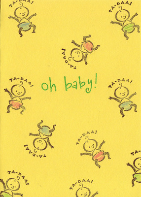 181 - 'Oh baby!' with baby stamps on yellow paper