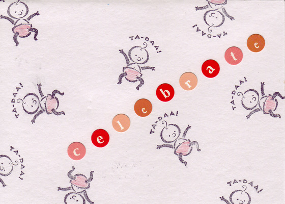 182 - 'Celebrate' with baby stamps on white paper