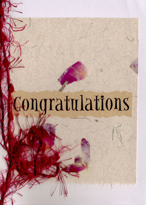 (SOLD) 183 - 'Congratulations' on rose petal embedded paper, with a ribbon tie