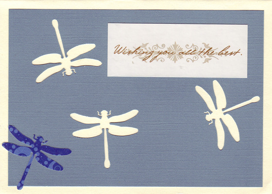 (SOLD) 184 - 'Wishing you all the best' on dragonfly paper