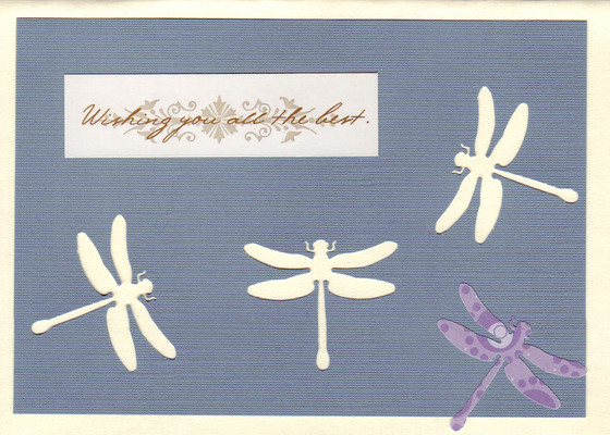 185 - 'Wishing you all the best' on dragonfly paper