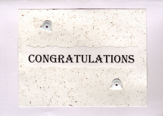 186 - 'Congratulations' on white speckled paper, with bell embellishments