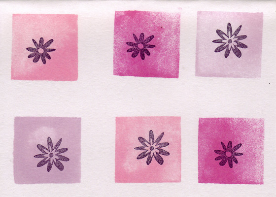 188 - Flower stamps in pink blocks