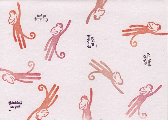 189 - 'Thinking of you' with monkey stamps