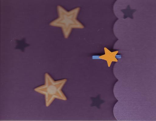194 - Stars on purple textured paper