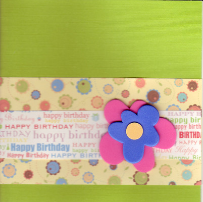 195 - (SOLD) 'Happy Birthday' with cute floral paper and 3-d flower
