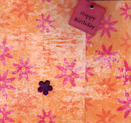 200 - 'Happy birthday' on red and orange floral paper