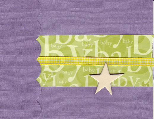 (SOLD) 204 - Baby (textured purple paper, green text, raised gold star)