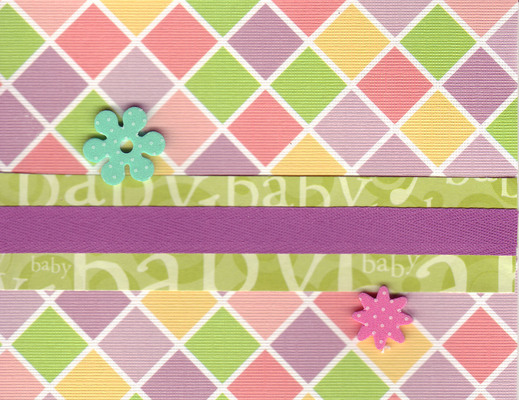 (SOLD) 205 - Baby (textured diamond patterned paper, green text, purple ribbon, raised star)