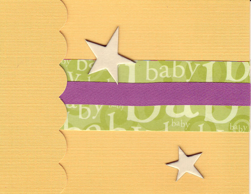 (SOLD) 206 - Baby (textured yellow paper, green text, raised gold star)