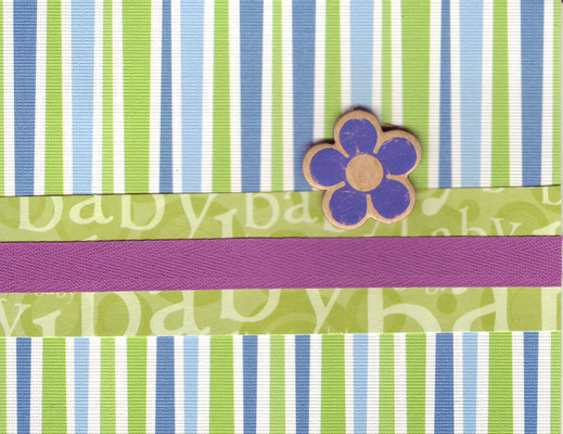 (SOLD) 207 - Baby (textured line patterned paper, green text, purple ribbon, raised flower)