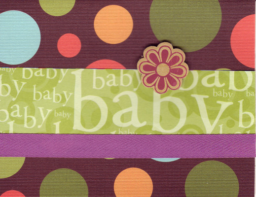 (SOLD) 208 - Baby (textured polka-dotted paper, green text, purple ribbon, raised flower)