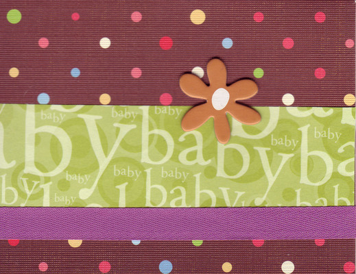 (SOLD) 209 - Baby (textured line patterned paper, green text, purple ribbon, raised flower)