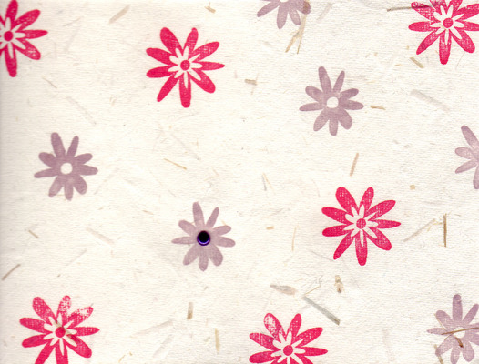 212 - Purple and red stamped flowers on gorgeous flocked handmade paper with a metallic purple brad highlight