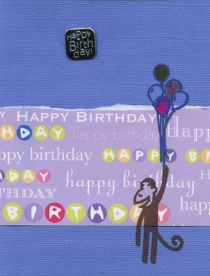 004 - Purple 'Happy Birthday' monkey with balloons