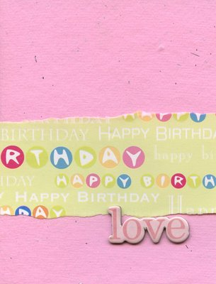 007 - Pink 'Love' happy birthday card