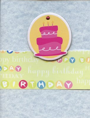 008 - Light blue happy birthday card with cake