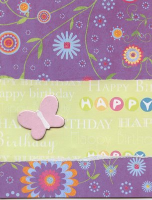 009 - Purple floral happy birthday card with Butterfly