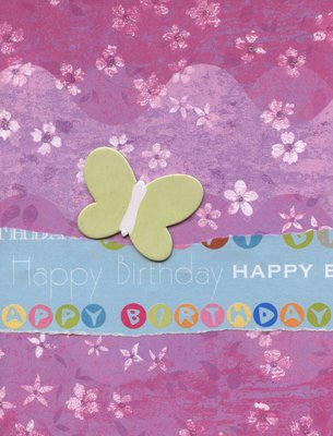 014 - Purple floral happy birthday card with Butterfly