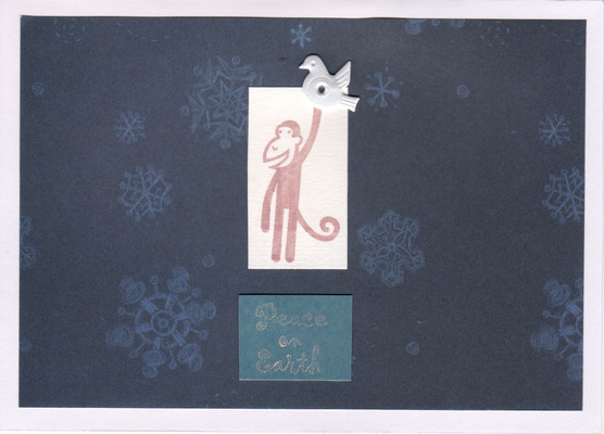 048 - Peace on Earth (monkey with dove, dark snow)