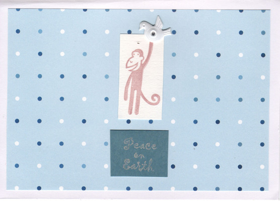 049 - Peace on Earth (monkey with dove, blue dots)
