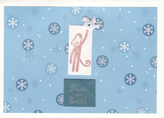 050 - Peace on Earth (monkey with dove, blue snow)