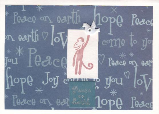 051 - Peace on Earth (monkey with dove, joy, love, peace, hope)