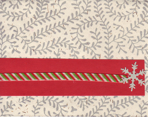 063 - Snowflake and striped ribbon on a richly textured card with fern print