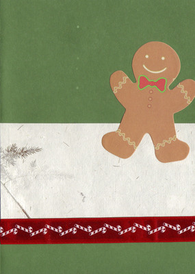 (SOLD) 064 - Gingerbread man and candycane ribbon on a tree-green card