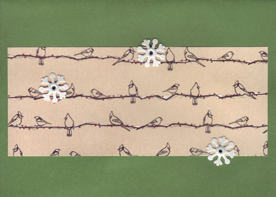 065 - Birds on a strand of lights attached to a tree-green card by snowflake brads