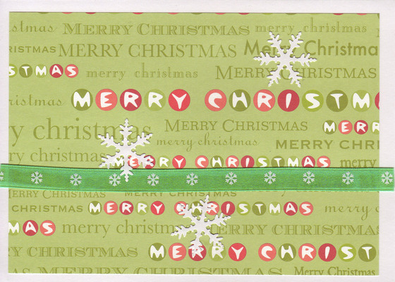 066 - Snowflakes over 'Merry Christmas' paper with a green snowflake ribbon