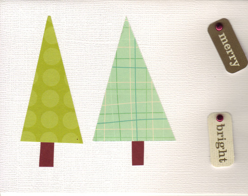 073 - Retro Christmas trees with 'Merry' and 'Bright' tags