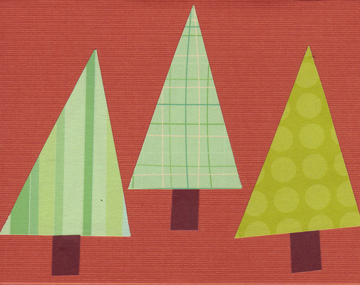 075 - Retro Christmas trees on a rich textured red card