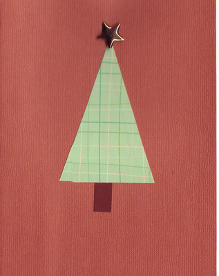 077 - Retro Christmas tree topped by a gold star on a rich textured red card