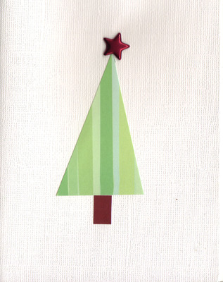 078 - Retro Christmas tree topped by a red star on a textured white card