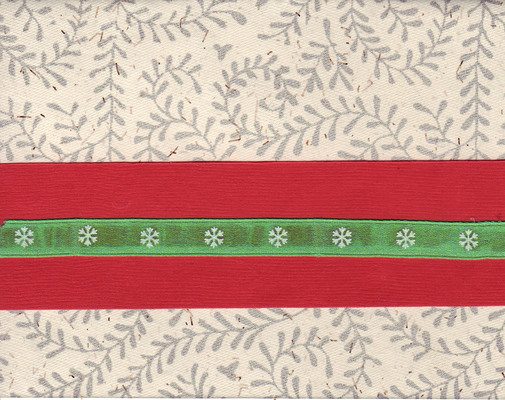 (SOLD) 080 - Green snowflake ribbon and red paper band on a richly textured card with fern print