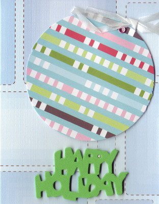 086 - Green 'Happy Holiday' with multi-colored ornament on patterned blue card