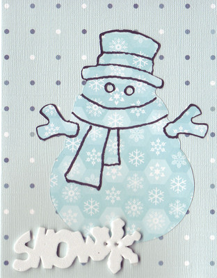 (SOLD) 092 - 'Snow' with snowman on dotted card