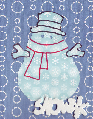 (SOLD) 093 - 'Snow' with snowman on blue and white card