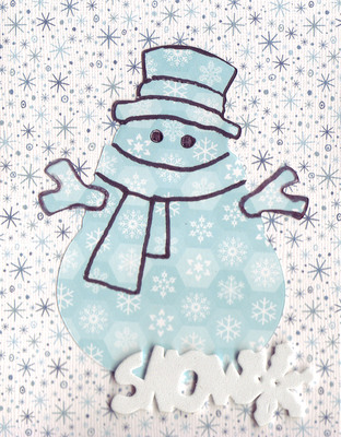 094 - 'Snow' with snowman on snow-patterned card