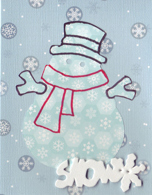 (SOLD) 095 - 'Snow' with snowman on snow-patterned card