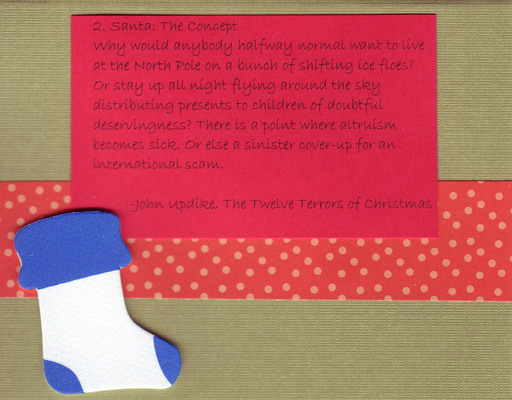 (SOLD) 097 - Updike 'Santa...' card with 3-d ornament on dotted card
